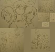 jake roland and wally doodles by Hi3ei