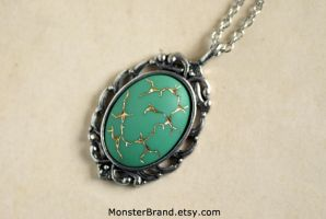 Vintage Mint Green 'Crack in Time' Necklace by MonsterBrandCrafts