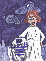 R2-D2 and Princess Leia by SonicClone