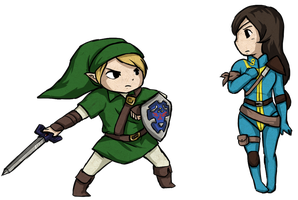 Link and OC - WW Style by Ardhes