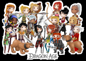 Dragon Age Chibi Group [Colored] by AnniaNyah