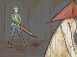 James and Pyramid Head by aquaticsky