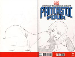 Fantastic Four Invisible Woman sketch cover by TeamAmazing