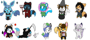 Freebies - Halloween Chibi Group by CraftyPup