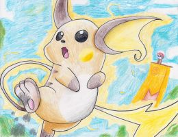 Raichu Undaunted card drawing by Aqws7