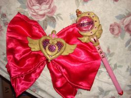 Sailor Moon SuperS cosplay: Bow brooch and wand by Gubreez