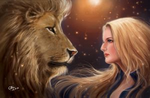 Lion and girl by BlackMonkey-Chi