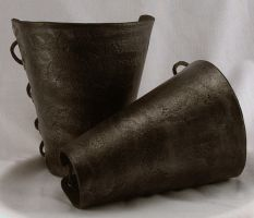Medieval Rustic Leather Bracers by ArmouredWolf907