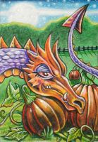ATC: 'Pumpkin Patch Dragon' by catbones