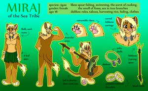 Miraj the Cigau Reference Sheet by KalunaSkunk