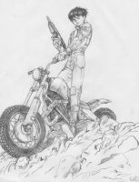 Kaneda on the motorcycle by Botan