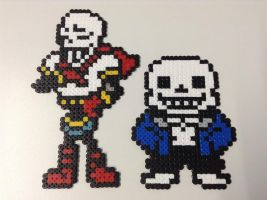 UT: Full Body Sans and Papyrus- Hama Bead Art by Dogtorwho