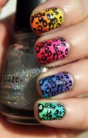 Colorful Leopard Print Mani by SamariumsSwatches