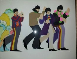 Beatles All You Need Is Love paper art by EQ37