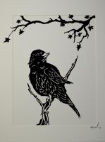 Paper Cut - Pensive Bird by stories-in-paper