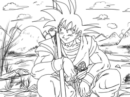 Goku chillin' lineart by BK-81