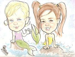My girls, caricature by EdwardRisu