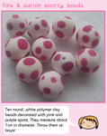 Pink and purple spotty beads by fairy-cakes