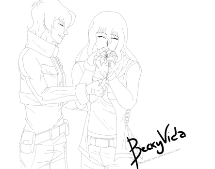 [Lineart]Raffle - Second Prize - Keith and Ruri by BeckyVida