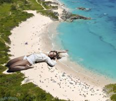 Giantess Shakira beach by lowerrider