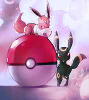 Eevee and Umbreon by PinkPuffKirby