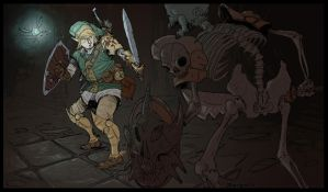 The legend of Zelda - Link vs Stalfo by joaquingodoy