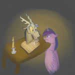 Discord And Twilight (Scetch) by ChibaDeer