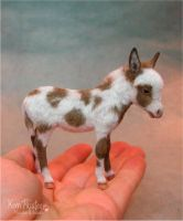 Miniature Spotted Burro Foal sculpture by Pajutee