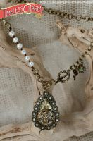 tear drop dragonfly pearl necklace by TimelessCharm