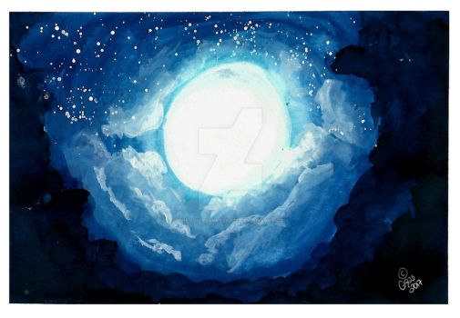 Moonlight watercolor practice by thevoicessneezed23