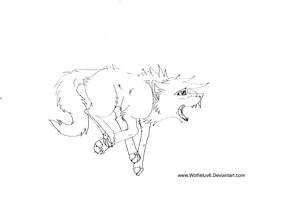 Free Running Wolf Lineart by Wolfieluv6