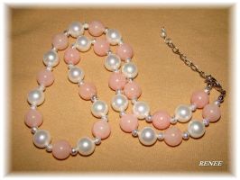 White pearl with rose jeda necklace by jasmin7