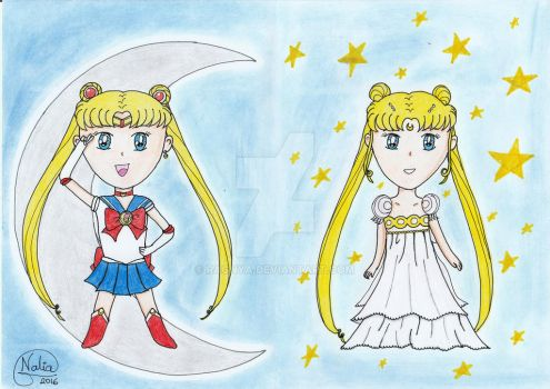 Sailor Moon and princess Serenity chibis by ragnya