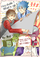 Regular show+2012 fanbook hey dude,whats up+ by DevilPink