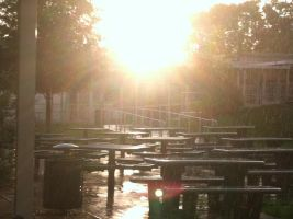rainy sunset, at school. by greyheart67