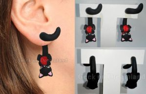 Black Cat with yarn Clinging Tail Earrings by GeekOnDreamland