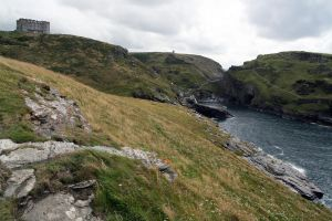 Tintagel Cliff and Castle 01 by neverFading-stock