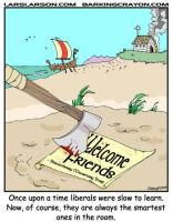 Liberals Vs. Vikings by Conservatoons