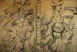 Team Fortress 2 girls by zzingne