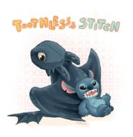 Toothless and Stitch by Kadeart0