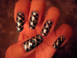 Blue, Black and Silver Nail Art by SkillfulCreations