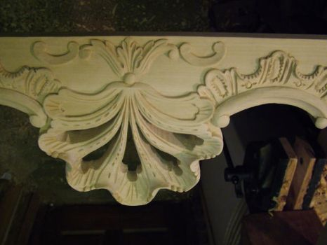 carving of console table by timpeekwoodcarving