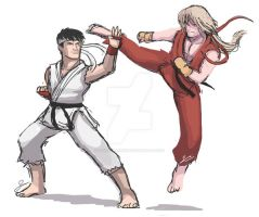 STREET FIGHTER: AF Ryu and Ken - quick drawing by SandikaRakhim