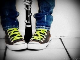 Converse and my Clarinet by CassieStarFox