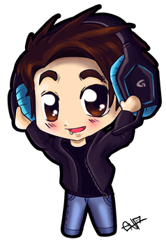 Chibi boy with headphones by Ena-the-original