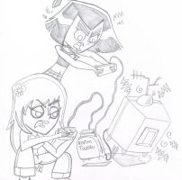 sam and pinky playing the NintenToaster by sixteen6stars