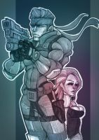 Young Snake and Meryl by EvenSkarangerArt