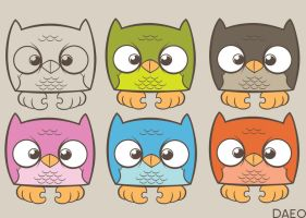 Colored Owls by Daeo