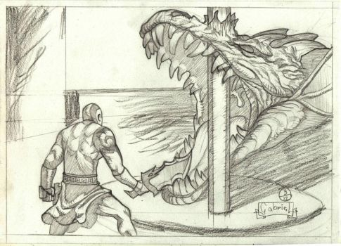kratos vs Hydra by cristusdnc