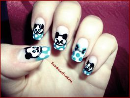 Panda Nail Art '_' by RainbowsForKate